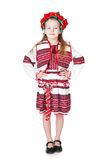 Ukrainian girl in national costume. Portrait of joyful young Ukrainian girl in national costume. Isolated on white background Royalty Free Stock Photos