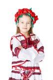 Ukrainian girl in national costume. Portrait of joyful young Ukrainian girl in national costume. Isolated on white background Stock Images