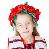Ukrainian girl in national costume. Portrait of joyful young Ukrainian girl in national costume. Isolated on white background Stock Photos