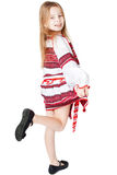 Ukrainian girl in national costume. Portrait of joyful young Ukrainian girl in national costume. Isolated on white background Royalty Free Stock Photo