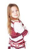 Ukrainian girl in national costume. Portrait of joyful young Ukrainian girl in national costume. Isolated on white background Stock Photo