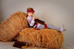 Ukrainian girl in national dress with a book royalty free stock image