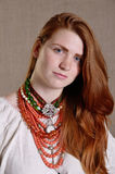Ukrainian girl with the traditional jewelry Stock Photos
