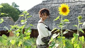 A Ukrainian girl turns with a bouquet in her hand near the sunflowers. In the background, the Ukrainian hut with thatched roof. Romantic, sensual, enigmatic stock video