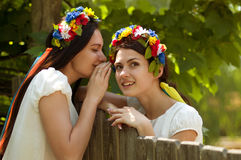 Ukrainian girls in national clothes Royalty Free Stock Image