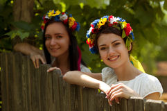 Ukrainian girls in national clothes Royalty Free Stock Photography