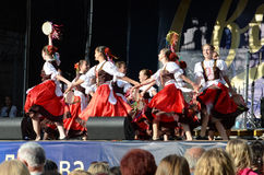 Ukrainian girls in traditional dress dancing a folk dance Royalty Free Stock Photography