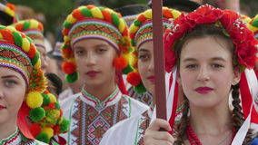 Ukrainian group of girls in traditional costumes at the International Folklore Festival. TULCEA, ROMANIA - AUGUST 08: Ukrainian group of girls in traditional stock video footage