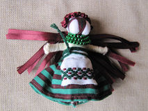 Ukrainian handmade folk doll. Traditional toy for Ukraine royalty free stock photos