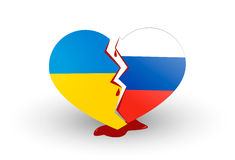Ukrainian heart. Heart broken Ukrainian war and politics Stock Photography