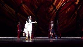 Ukrainian historical ballet Princess Olga. DNIPRO, UKRAINE - FEBRUARY 24, 2017: Ukrainian historical ballet Princess Olga performed by members of the Dnipro stock footage