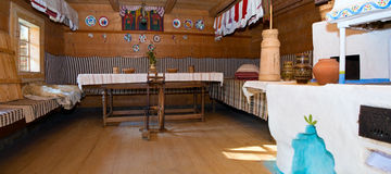 Ukrainian historical peasant dwelling interior Royalty Free Stock Photo