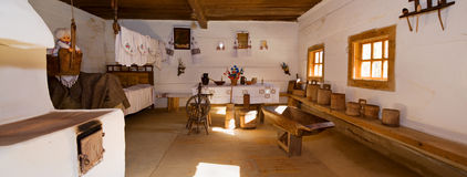 Ukrainian historical peasant dwelling interior Stock Images