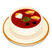 Of Ukrainian hodgepodge soup with sour cream in a  Stock Photos