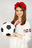 Ukrainian  holding a ball Royalty Free Stock Photo