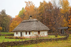 Ukrainian house in autumn stock images