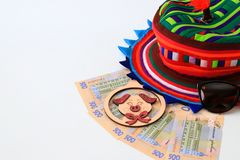 Ukrainian hryvna, banknotes 500 hryvnia, with pig 2019, colorful hat on white background, isolate. Christmas, New Year and travel royalty free stock images
