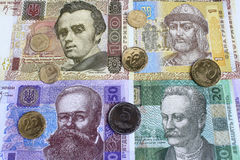 Ukrainian hryvnia. Paper bills and coins Royalty Free Stock Photography