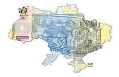 1 ukrainian hryvnia banknote in shape of ukrain. Specimen royalty free stock images