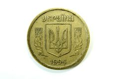 Ukrainian Hryvnia coin. Ukrainian coin on white background royalty free stock image