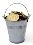 Ukrainian hryvnia iron in the bucket. Stock Photo