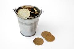 Ukrainian hryvnia iron in the bucket. Stock Image