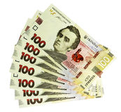 Ukrainian hryvnia. With a nominal value of one hundred hryvnias of a new sample stock photography