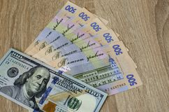 The Ukrainian hryvnia in the ratio of the US dollar.  stock images