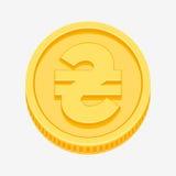 Ukrainian hryvnia symbol on gold coin. Ukrainian hryvnia currency symbol on gold coin, money sign vector illustration isolated on white background Royalty Free Stock Photos