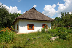 Ukrainian hut with a straw roof Stock Image