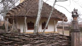 Ukrainian hut with thatched roof stock video