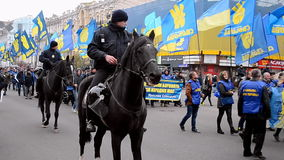 Horse patrol, Ukrainian Insurgent Army UPA meeting in Kiev, Ukraine,. KIEV - OCT 14, 2016: horse patrol during Ukrainian Insurgent Army UPA meeting on October 14 stock footage