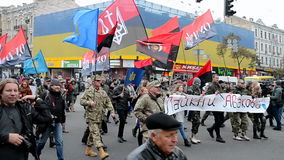 Ukrainian Insurgent Army UPA meeting in Kiev, Ukraine,. KIEV - OCT 14, 2016: Ukrainian Insurgent Army UPA meeting on October 14, 2016 in Kiev, Ukraine. UPA stock video footage