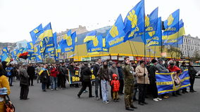 Ukrainian Insurgent Army UPA meeting in Kiev, Ukraine,. KIEV - OCT 14, 2016: Ukrainian Insurgent Army UPA meeting on October 14, 2016 in Kiev, Ukraine. UPA stock video