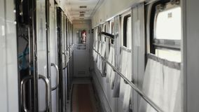 Ukrainian intercity train. Coupe train car.