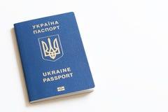 Ukrainian international biometric passport on neutral background Stock Photos