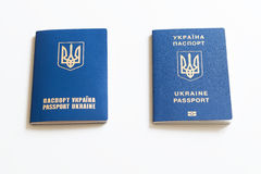 Ukrainian international biometric passport on neutral background Royalty Free Stock Photos