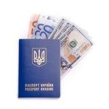 Ukrainian International Passport With Banknotes Royalty Free Stock Images