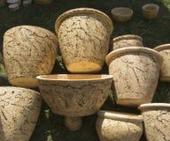 Ukrainian jugs from white clay Royalty Free Stock Photo
