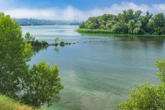 Ukrainian June landscape with Dnipro river stock photography