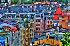 Ukrainian Kiev streets in HDR Podil. Picture of Ukrainian Kiev streets in HDR Podil Royalty Free Stock Images