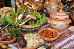 Ukrainian kitchen table. Eating treats royalty free stock photos