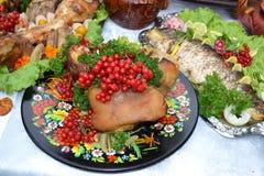 Ukrainian kitchen table. Eating treats royalty free stock images