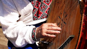 Ukrainian Kobzar playing the bandura. HD stock footage