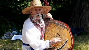 Ukrainian Kobzar playing the bandura stock footage