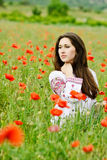 Ukrainian lady  in field Stock Images
