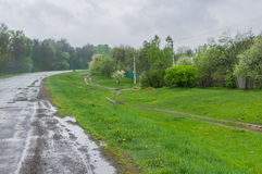 Ukrainian landscape at cloudy spring day Royalty Free Stock Image
