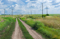 Ukrainian Landscape with country road Royalty Free Stock Photography