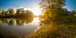 Ukrainian landscape of forest and river at sunset Stock Photo