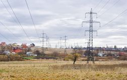 Ukrainian landscape with power line. Stock Images